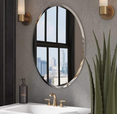 Quality Glass Decorative Frame less Oval Mirror for Bathrooms & Home